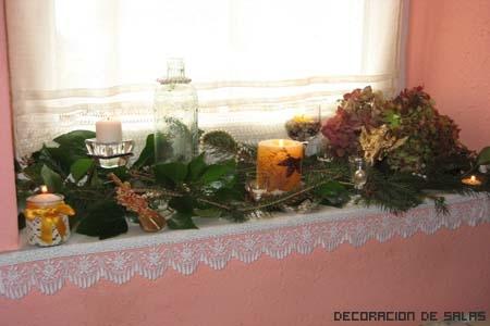 velas y hojas ventanas
