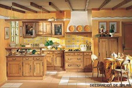 vigas falsas en la cocina