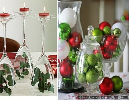 Decoración con copas de cristal