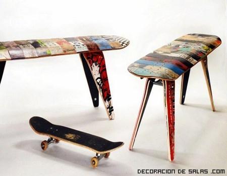 Muebles hechos con tablas de skate