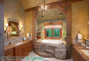 Ideas para completar un baño con estilo rústico