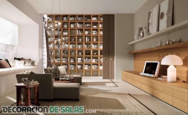 Bibliotecas integradas en la decoración del salón