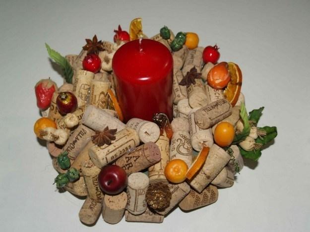 centro de mesa navideño corcho