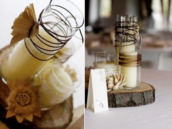Centro de mesa con velas largas