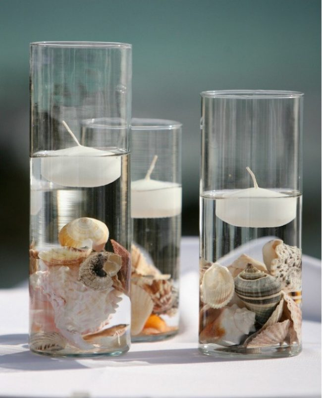 Centros de mesa con conchas