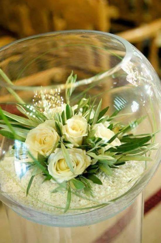 flores en pecera centro de mesa