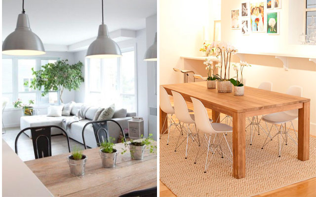Centros de mesa comedor con plantas