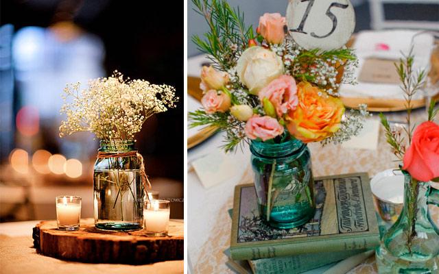 plantas y flores centro de mesa