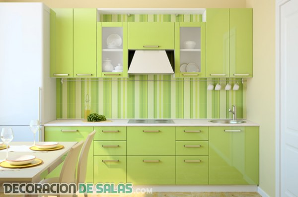 Decoración de interiores en verde lima-limón