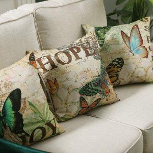 cojines originales para sofás de mariposas