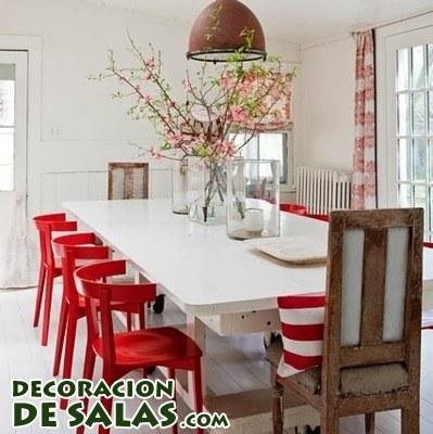Tres comedores en blanco y rojo | Decoración de Salas