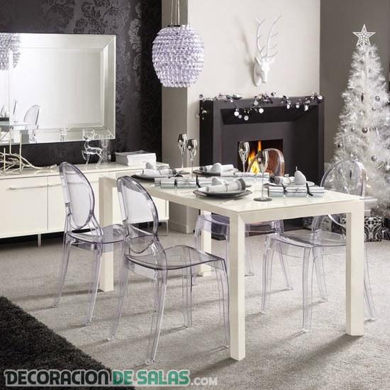 Decoración para Navidad en blanco y plata