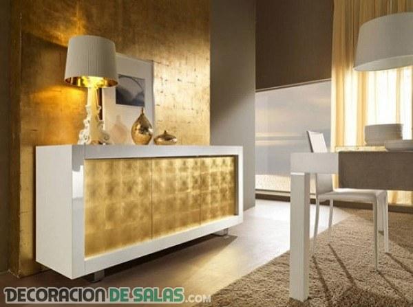 Color dorado para espacios más pequeños