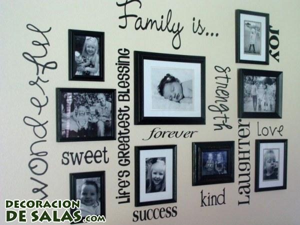 Decorar las paredes con recuerdos de familia