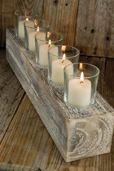 centro de mesa de madera con velas