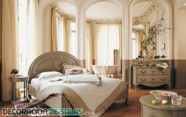 Dormitorios románticos en colores tierra