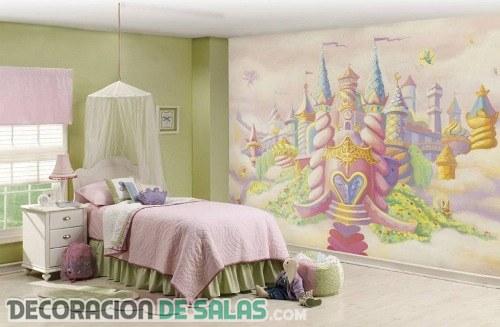 Paredes del dormitorio con grandes dibujos