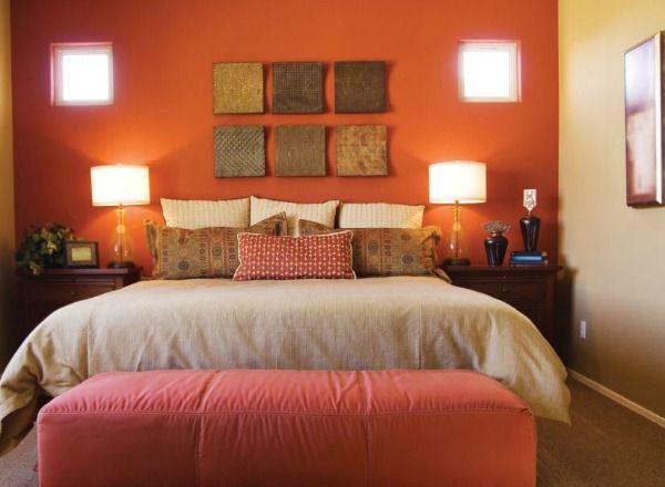 dormitorio en color naranja