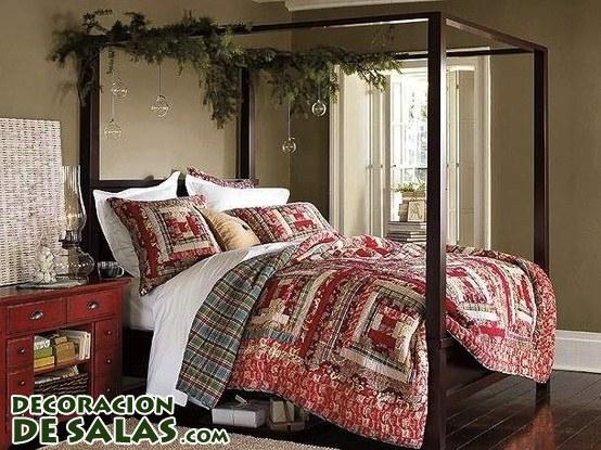 Dormitorio decorado en Navidad