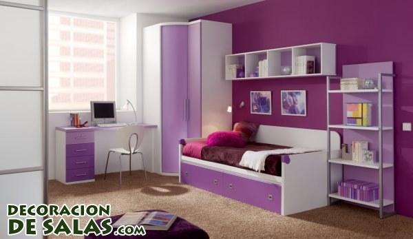 Dormitorio juvenil en color malva