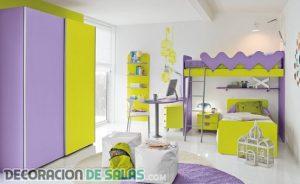 Mezclando dos colores vibrantes en el dormitorio