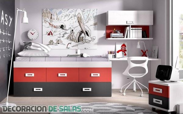 Dormitorios juveniles con pinceladas en color rojo