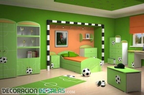 Tres dormitorios para niños futboleros