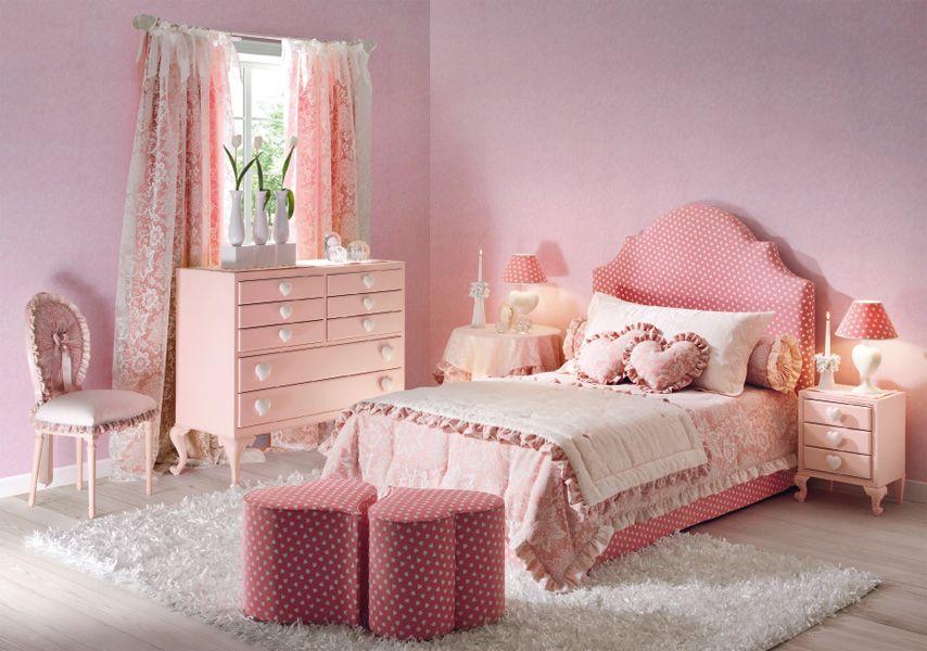 Decoración de habitación rosa con estilo moderno
