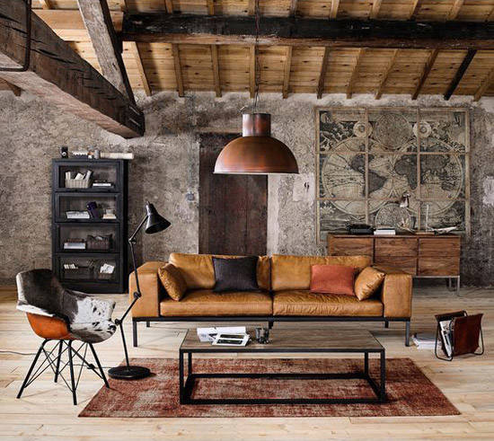 sofa, lampara y salón industrial