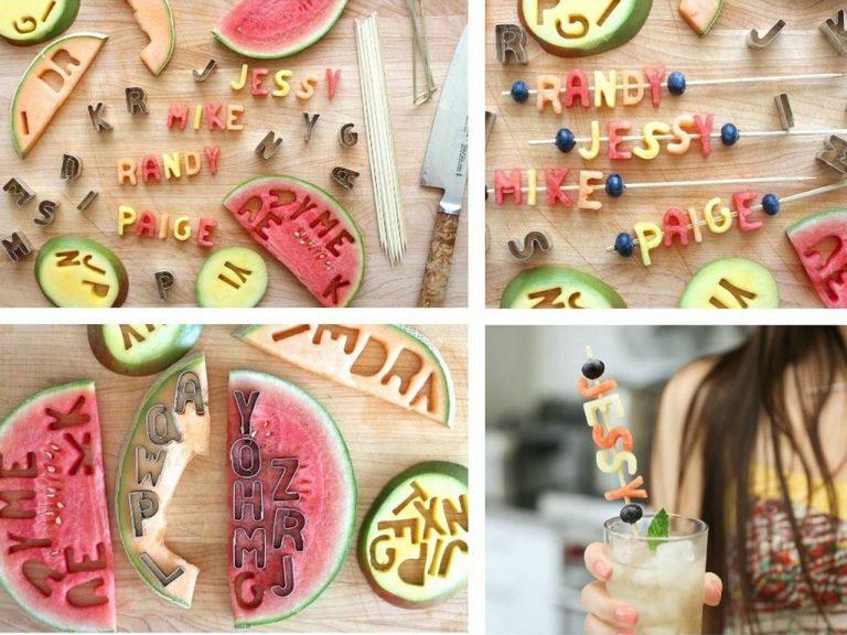 centro de mesa con letras de fruta