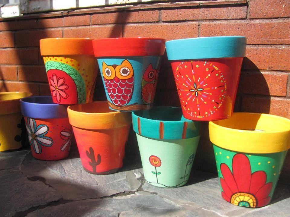 macetas de ceramica pintadas