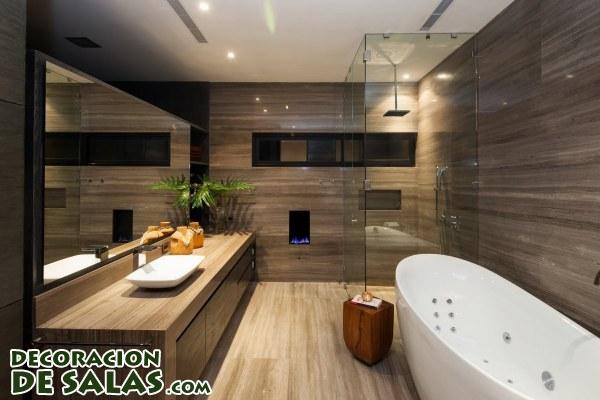 Paredes de madera para baños modernos