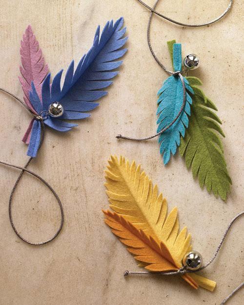 plumas fieltro decoración