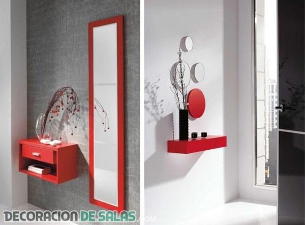 Ideas de recibidores en color rojo