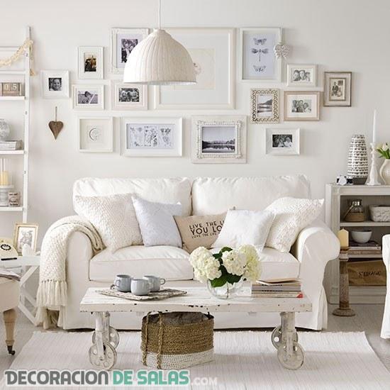 Salones rústicos pero en color blanco