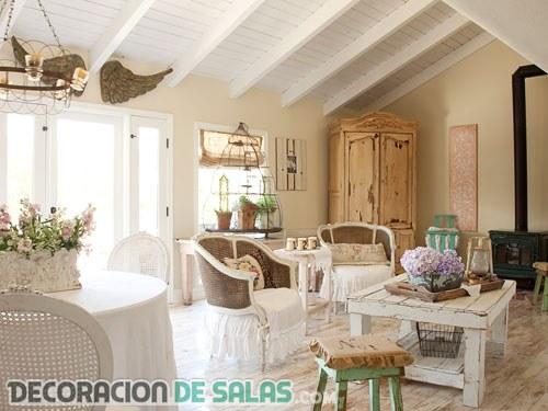 Decoración combinada en color blanco y la madera