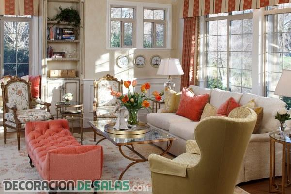 Ideas de salones en color coral