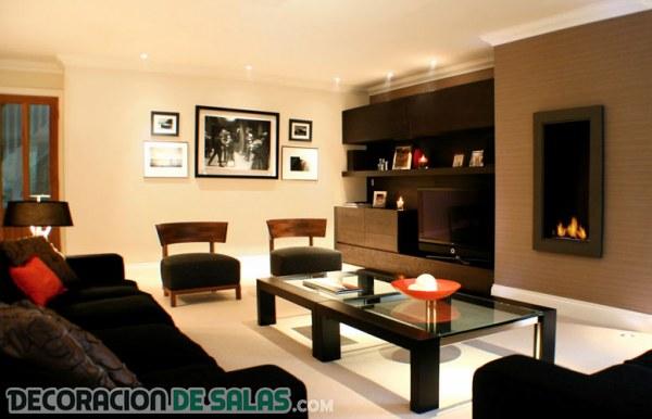 Salones combinados en tonos marrones