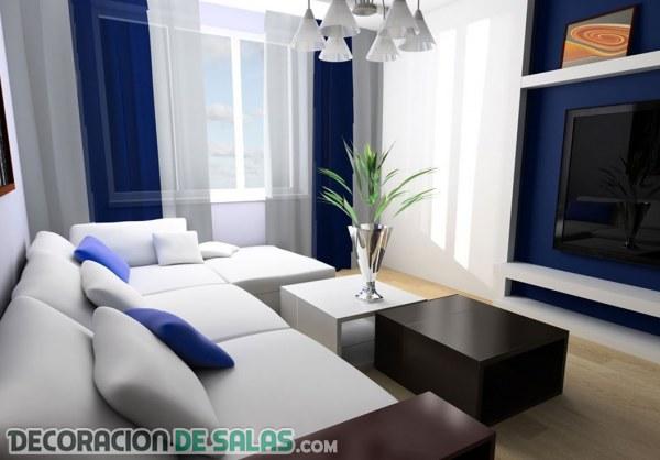 Salones con decoración en azul y blanco