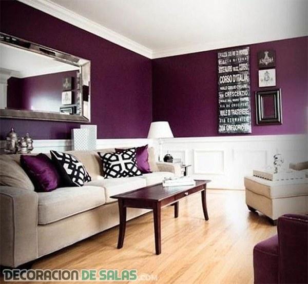 Integrando el color morado en el salón