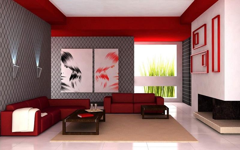 Salón con paredes de dos colores