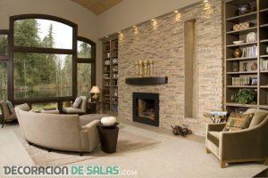 Las paredes de piedra también decoran nuestros salones